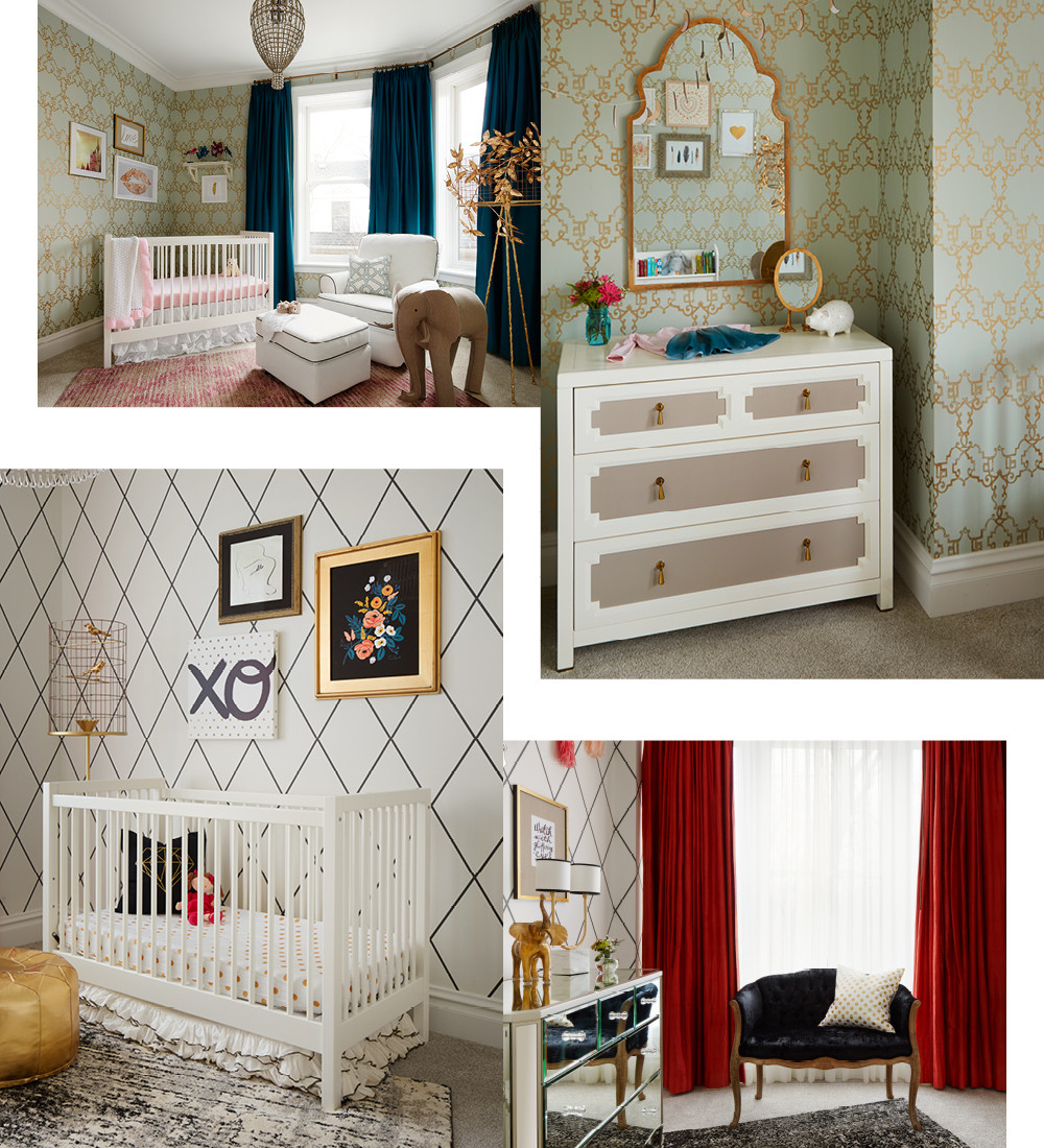 Ava's nursery features girly-yet-grown up details, such as a modern damask wallpaper from Nina Campbell and a chandelier that hung in the family's previous residence. A dresser from Twinkle Twinkle Little One is topped with a gilded mirror from Mirror Image. The high-style nursery of baby Stella includes a mirrored dresser from Pottery Barn Kids, graphic wallpaper from Dedar, and playful pom poms from ABC Home. A birdcage lamp from Stray Dog Designs is paired with a quirky art collection sourced from One Kings Lane.