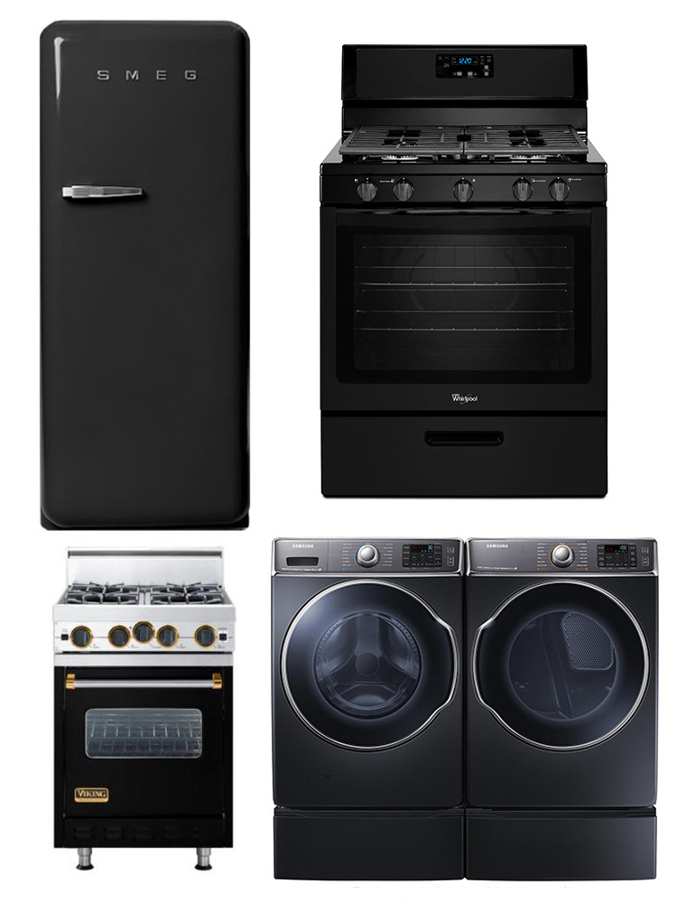 Clockwise from top left: Smeg Refrigerator: $1,999, West Elm; Gas Range: $599, Whirlpool; Washer and Dryer: $1,530 each, Samsung; Professional Classic Series Range: price upon request, Viking.