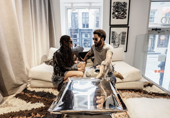 Lenny Kravitz at the CB2 x Kravitz Design event with his daughter, musician-actress Zoë Kravitz.