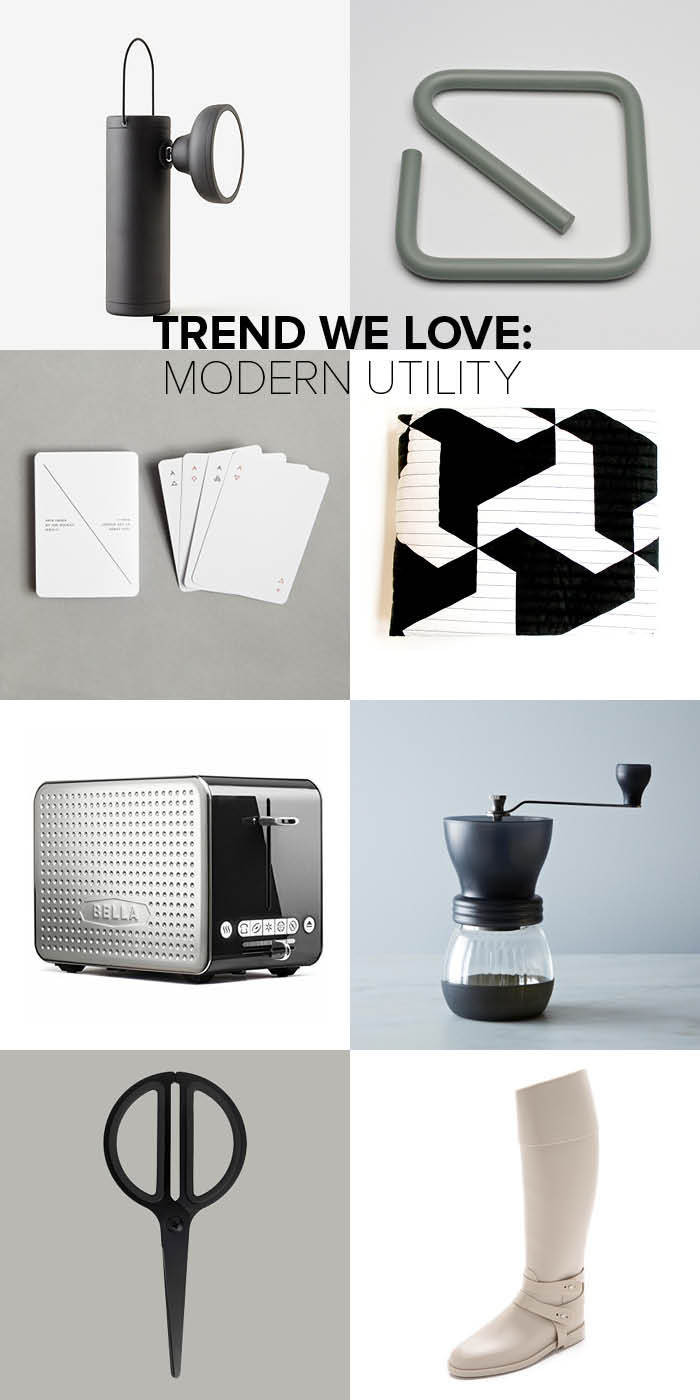Clockwise from top left: TM Lamp by Juniper Design: $220, Steven Alan; SQ Trivet: $90, Leibal; Iota Playing Cards by Joe Doucet: $18, The Creative Home; Utility Blanket by Jim Isermann: $225, Whitney Shop; Dots Collection 2.0 Toaster: $30, Bella; Skerton Coffee Grinder by Hario: $44, Food 52; Fullfölja Scissors: $4, Ikea; Original Opaque Rain Boots by Sloosh Italy: $220, Shopbop