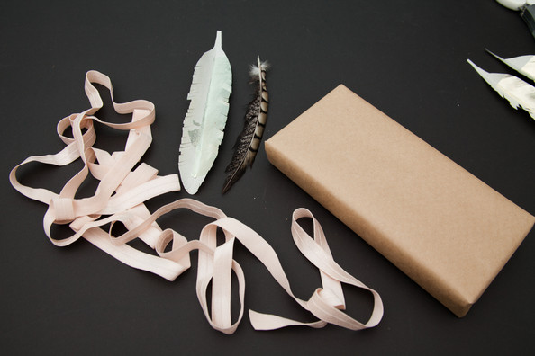 The Supplies: Feather-Embellished package
