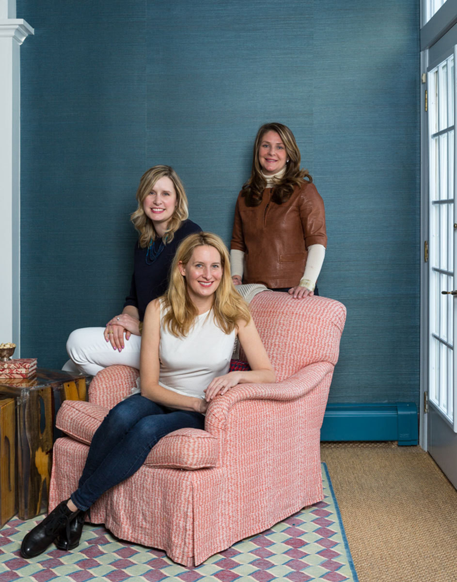 From front to back: designer Celerie Kemble, the homeowner, and Kemble Interiors senior designer Lindsey Herod.