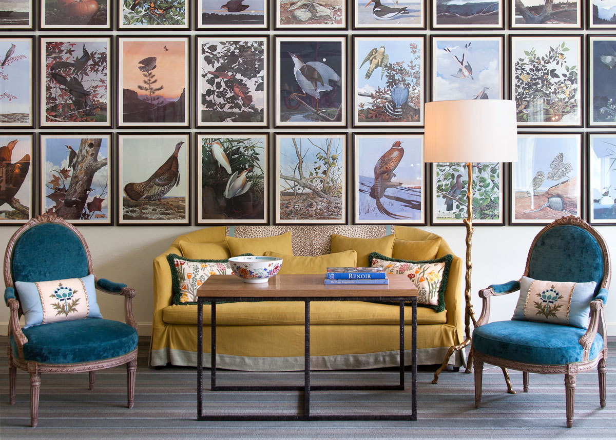 """Of Birds and Texas,"" Audubon-inspired prints by Scott and Stuart Gentling—on loan from owner Mike McAdams's personal collection—in the Lake Room at Lake Austin Spa Resort."