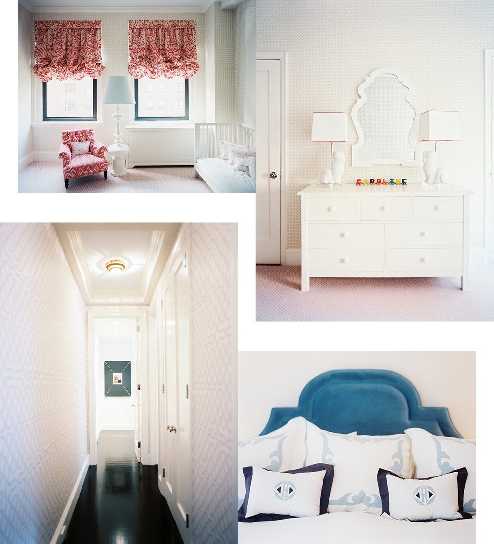 Clockwise from top left: In the nursery, vibrarnt window treatments recall hot-air baloons; in the master bedroom, supple teal upholstery strikes an ideal balance of masculine and feminine sensiblities; a long, narrow hallway is lent interest and allure by an animated Cole and Son wallpaper, ebony-stained hardwood floors, and a delicately painted ceiling.