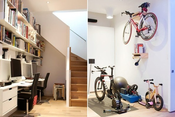 The home office, at left, and gym, with recreationalwheelsfor both adults and kids.
