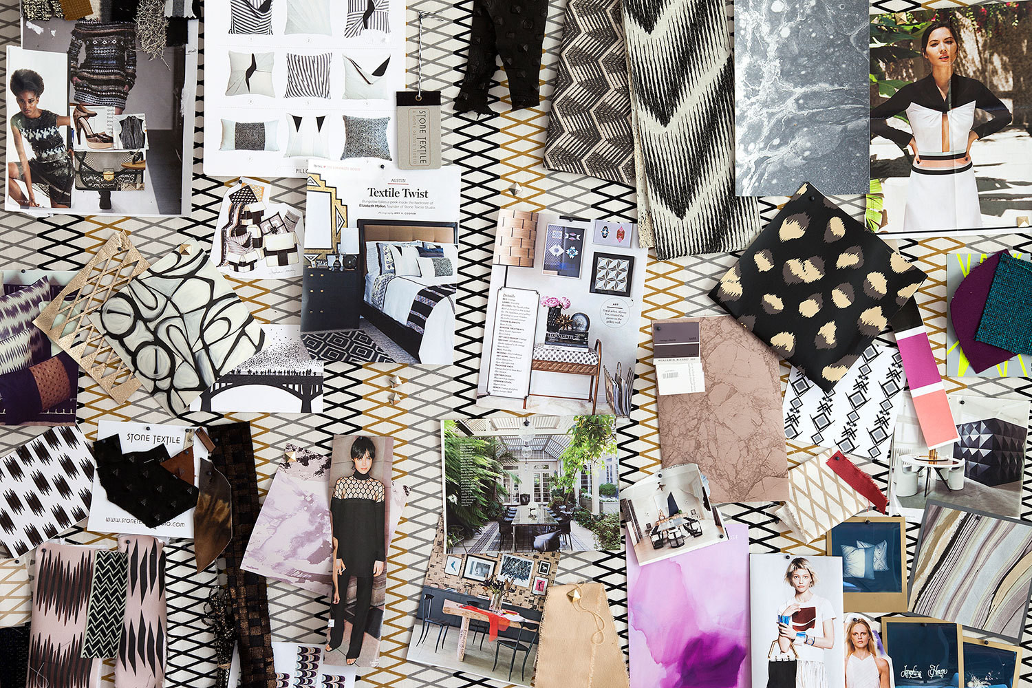A mood board in the office of textile and interior designer Elizabeth Mollen's South Austin home.