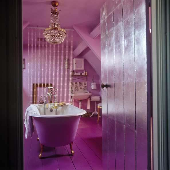 Pink eclectic bathroom modern bathrooms lonny - Pink bathtub decorating ideas ...
