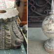 Teak Carved Capitol and Iron Sphere