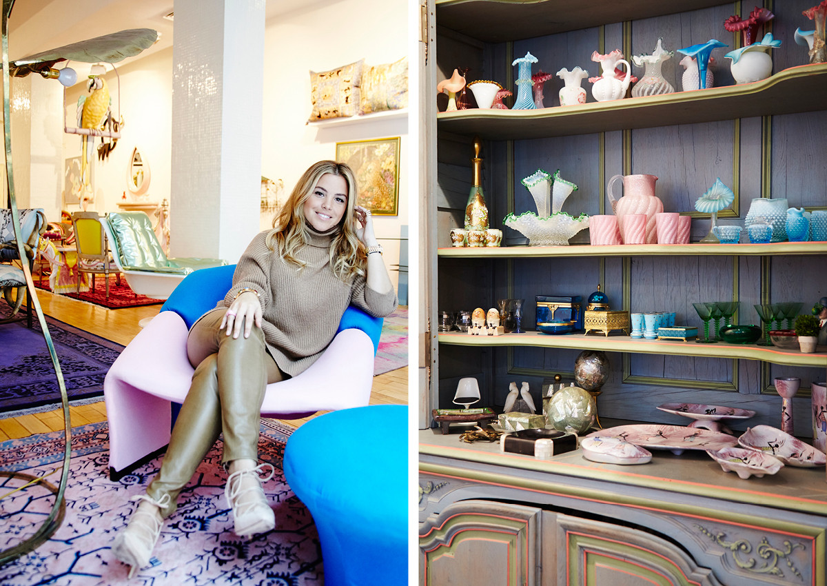 Designer Sasha Bikoff in her Tribeca showroom, where colorful Italian glassware accents beautifully reimagined antiques and original furniture designs.