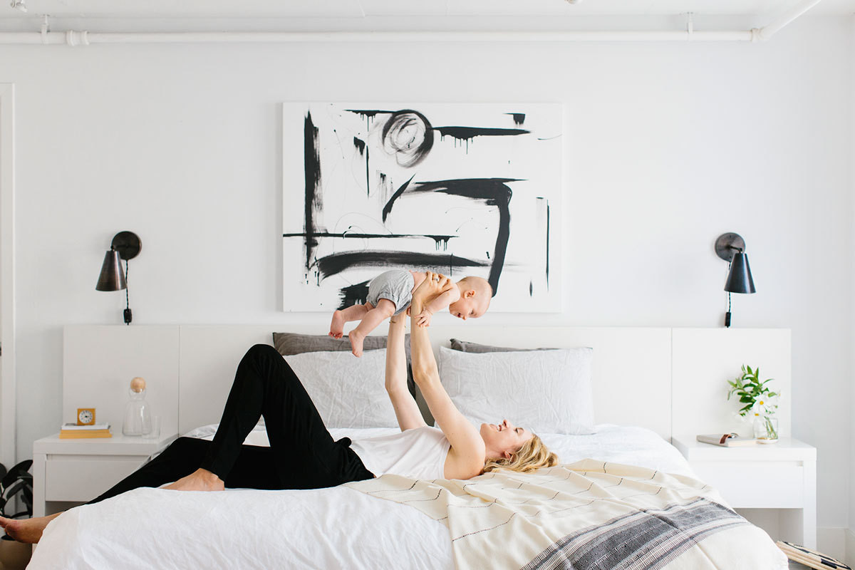 Apartment 34 blogger Erin Hiemstra and her four-month-old son, Carter, kick back in their San Francisco apartment.
