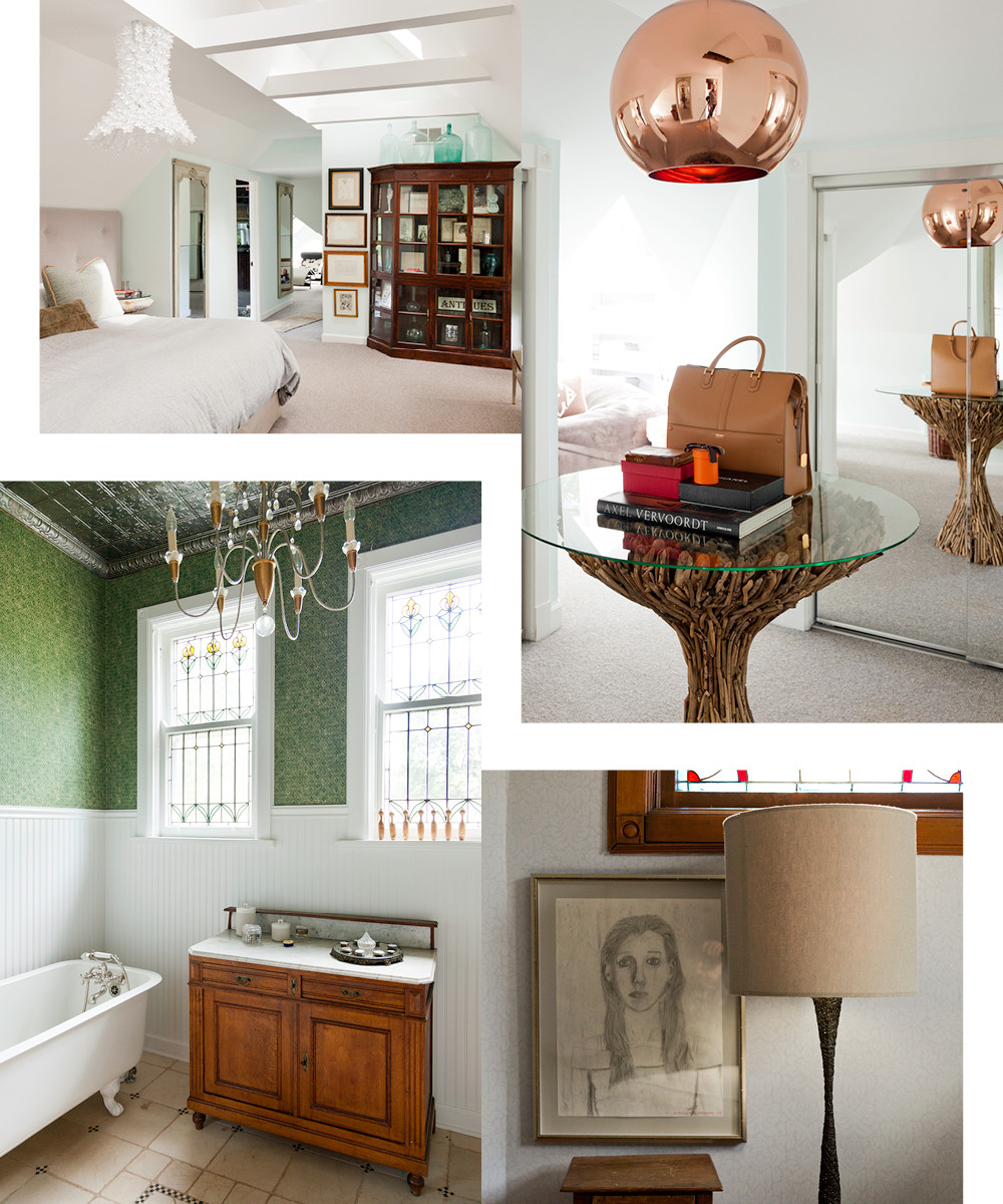 The Buckinghams added the third-floor master suite, which combinesskylights and treetop views, before moving in.A modern brass chandelier by Tom Dixon illuminates the designer's dressing room.Aportrait sketched by her daughter Caroline anchors the wall behinda woven wire floor lamp.The second-floor bathroom features the home's original claw foot tub and leaded glass windows.