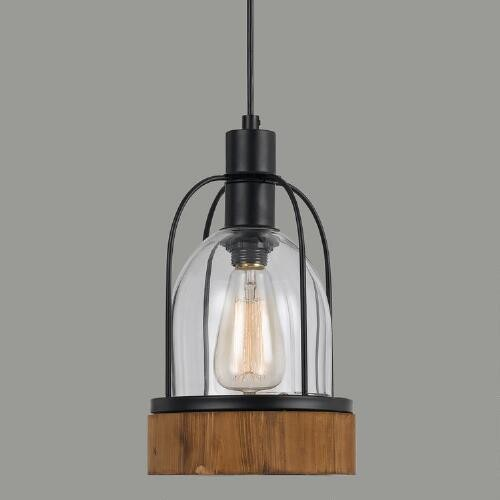 Wood-and-Glass Industrial-Style Pendant Lamp