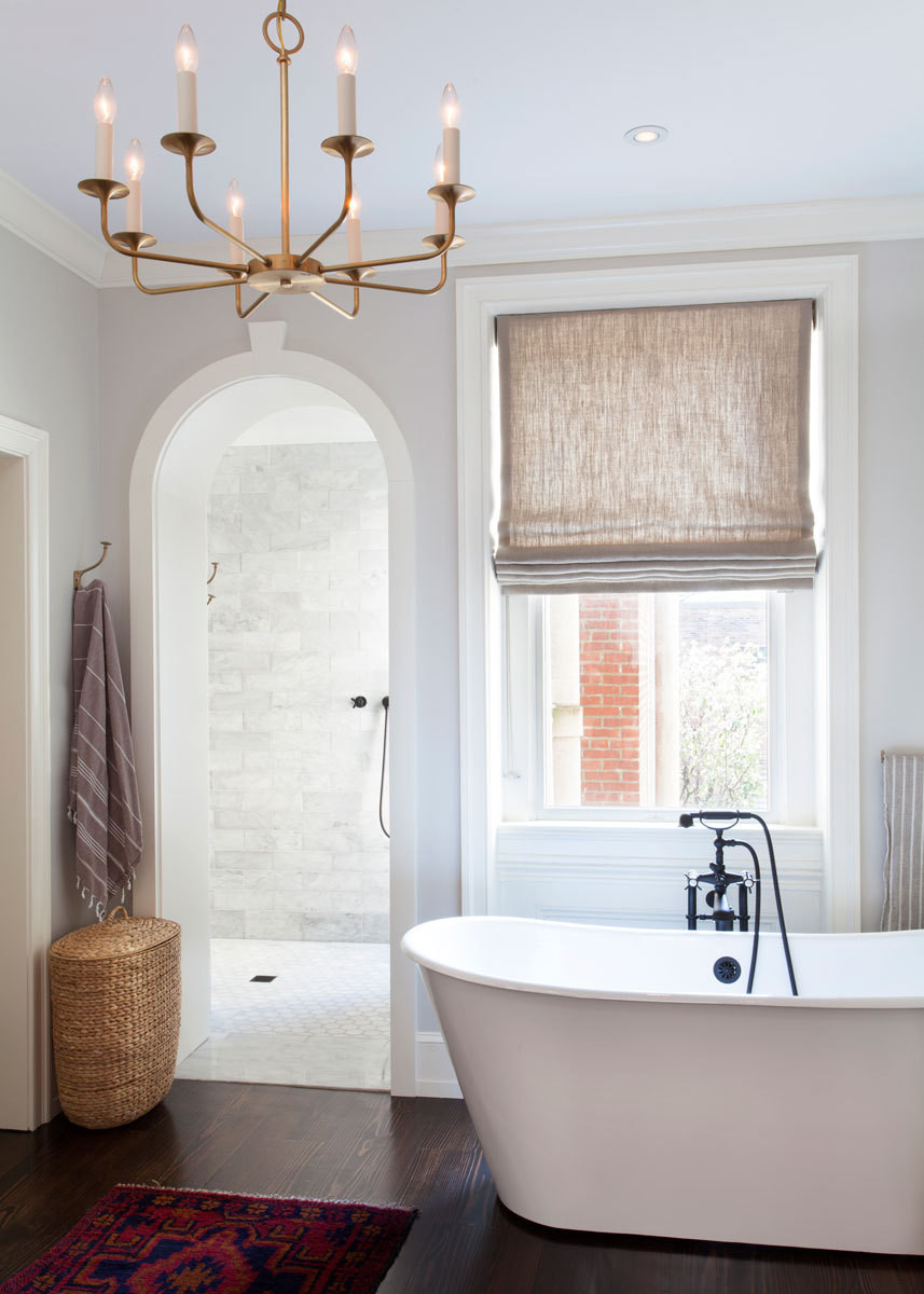The soaking tub conveys a spa-like sense of ease.