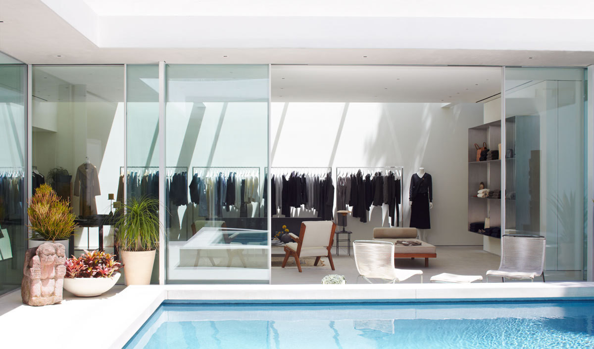 The central courtyard and pool at The Row's new Los Angeles flagship.