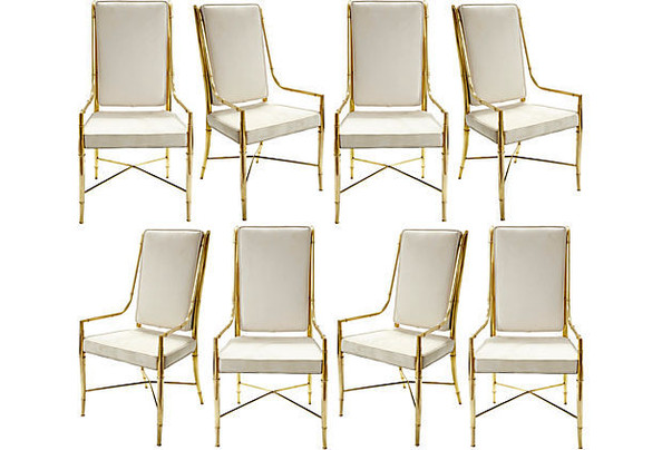 Vintage Suede and Brass Dining Chairs