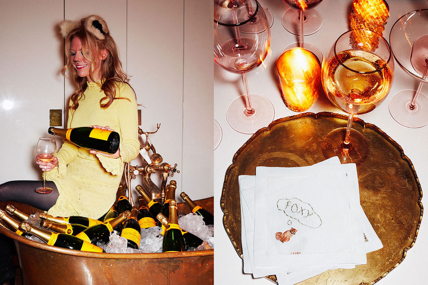 A freestanding copper bathtub ladenwith bottles of Veuve Clicquot Brut Yellow Label awaited party guests.No detail, including embroidered cocktail napkins, was overlooked.