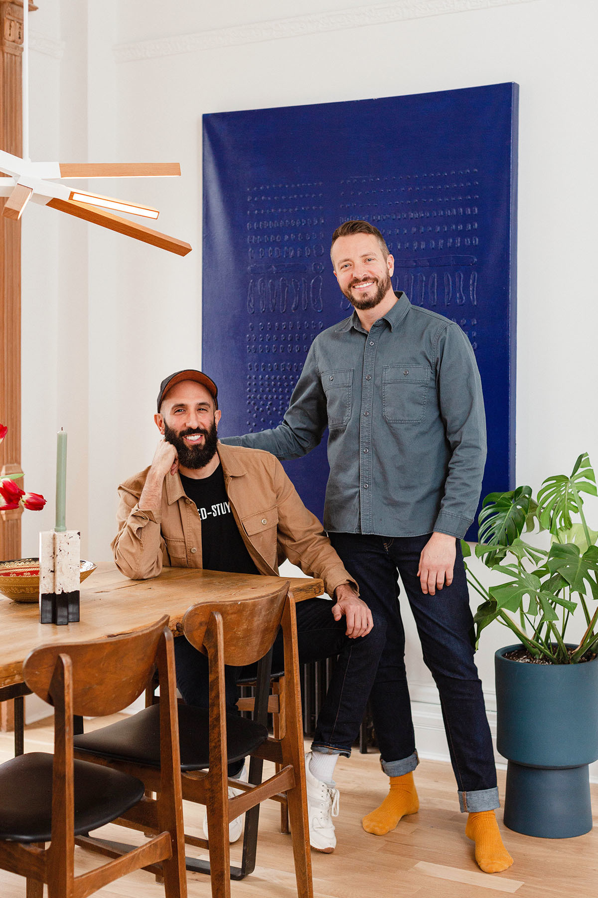"""We were both looking for someone to spend a life with and we immediately found that we were on the same page on almost everything — our love of travel, music, food, Brooklyn — and of course, we shared this dream of creating a home here,"" explain Slocum (left) and Bordelon (right). Sherwin-Williams Paint 