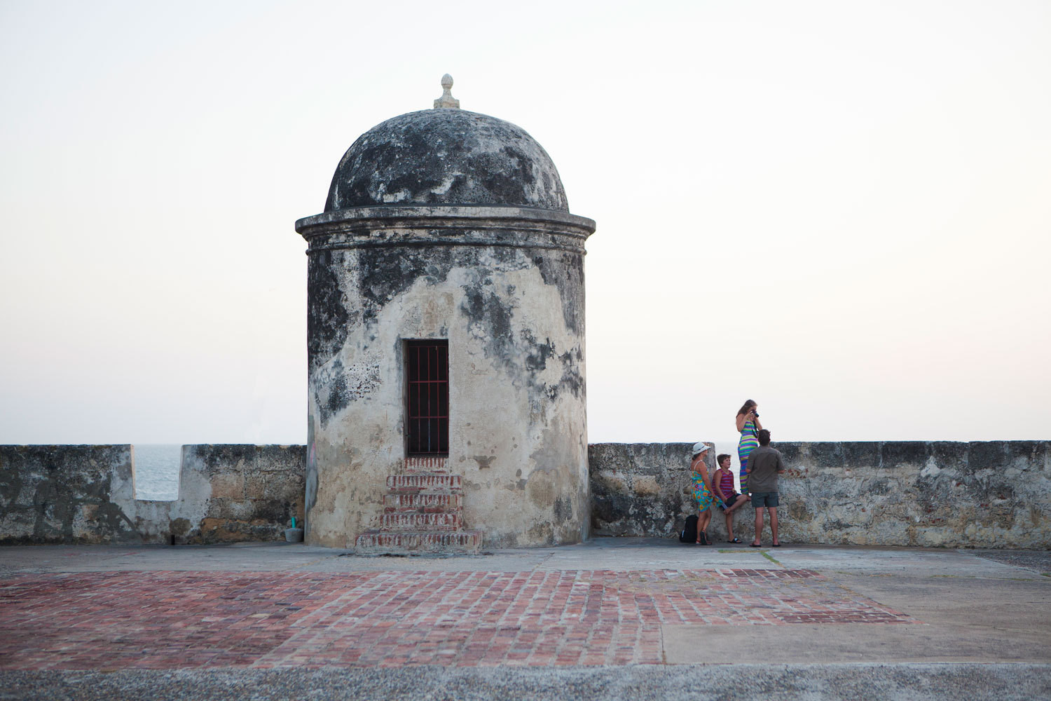 A medieval wall surrounds the Colombian port city of Cartagena.