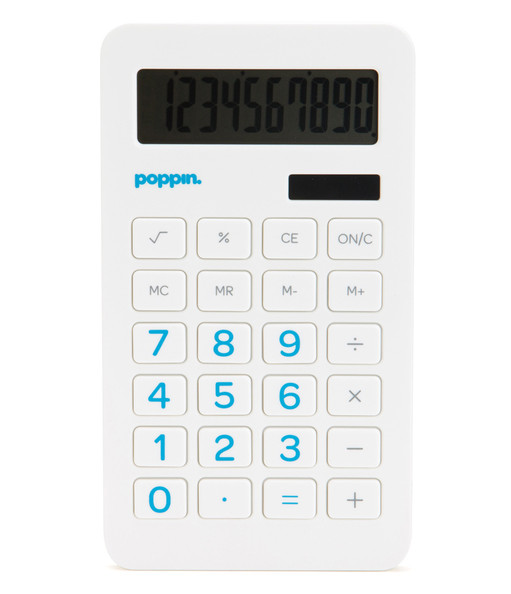 Poppin Eco-Calculator with Pool Blue Numbers