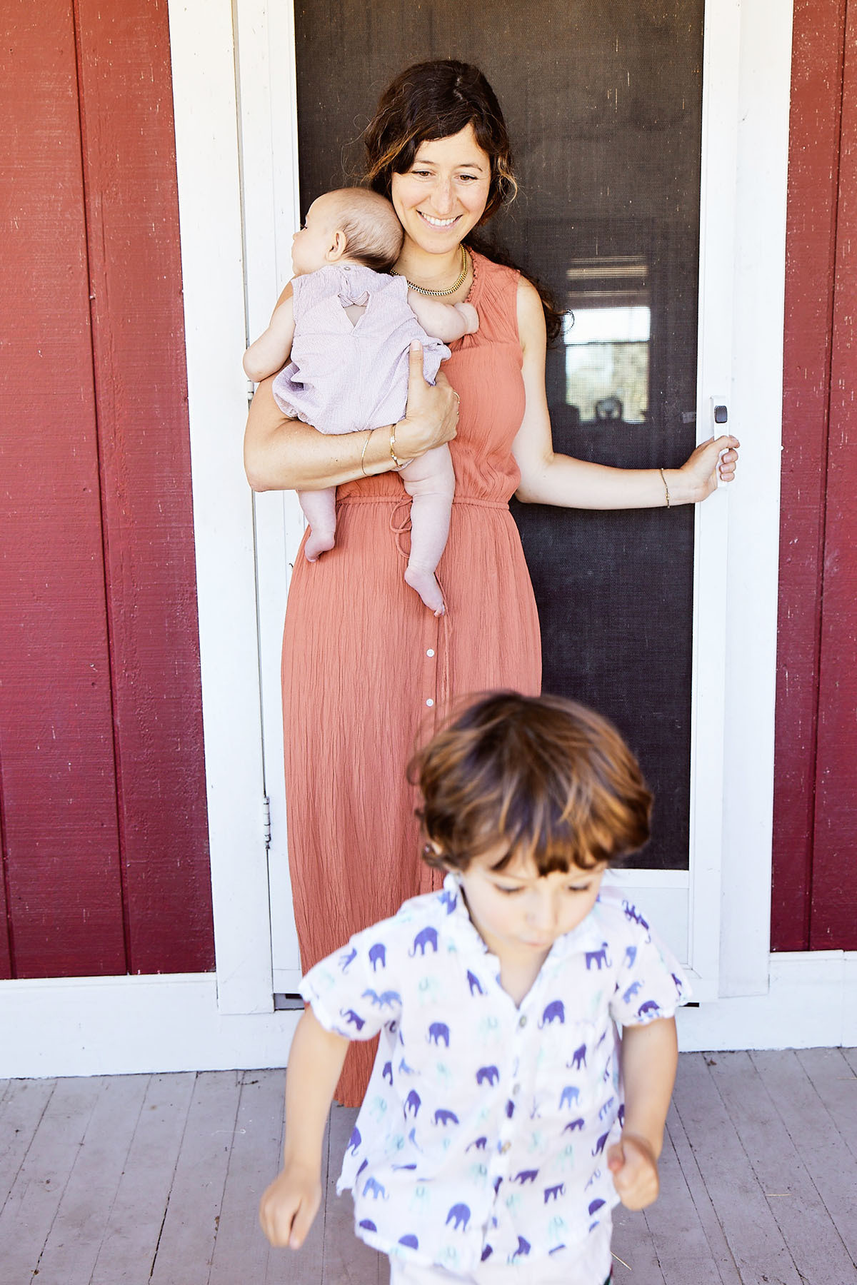 The mom-of-two fell in love with her sunny Napa Valley home, pictured here with four-month-old daughter, Goldie, and three-year-old son, Felix.