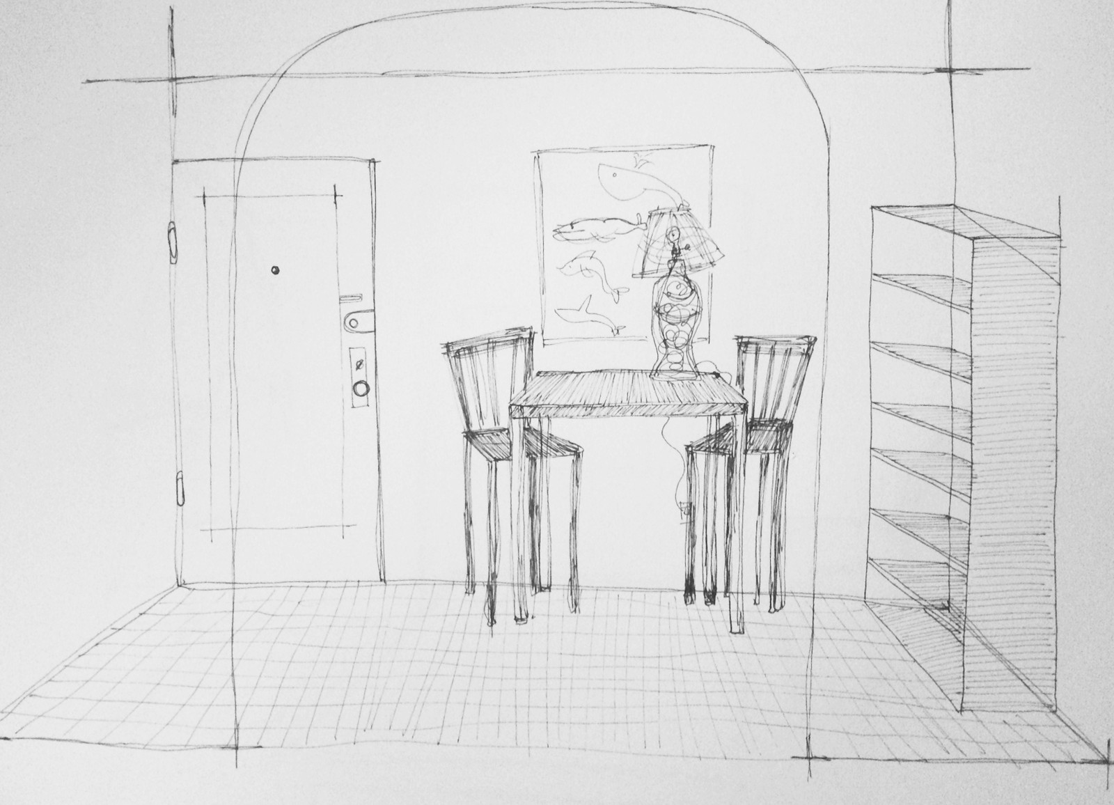 A sketch of the first room I'll be redecorating in my current apartment: the entry and dining area