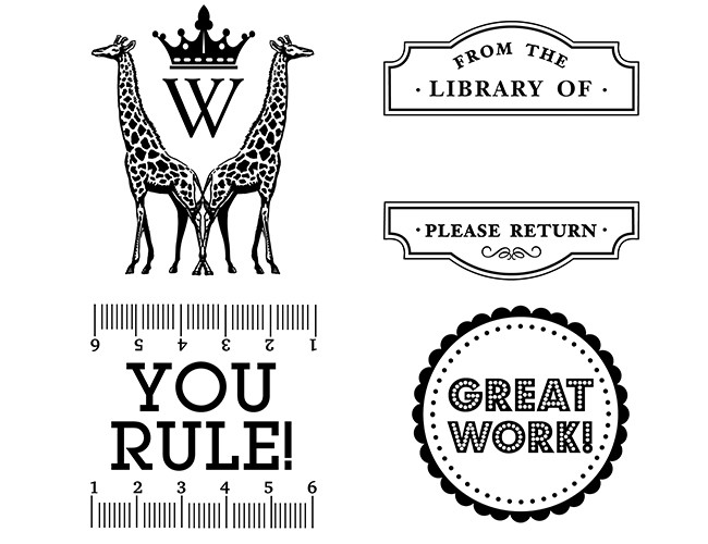 CLOCKWISE ROM TOP LEFT The Monogram Giraffe A–Z; Book Library; Teacher Rule; and Teacher Great Work.