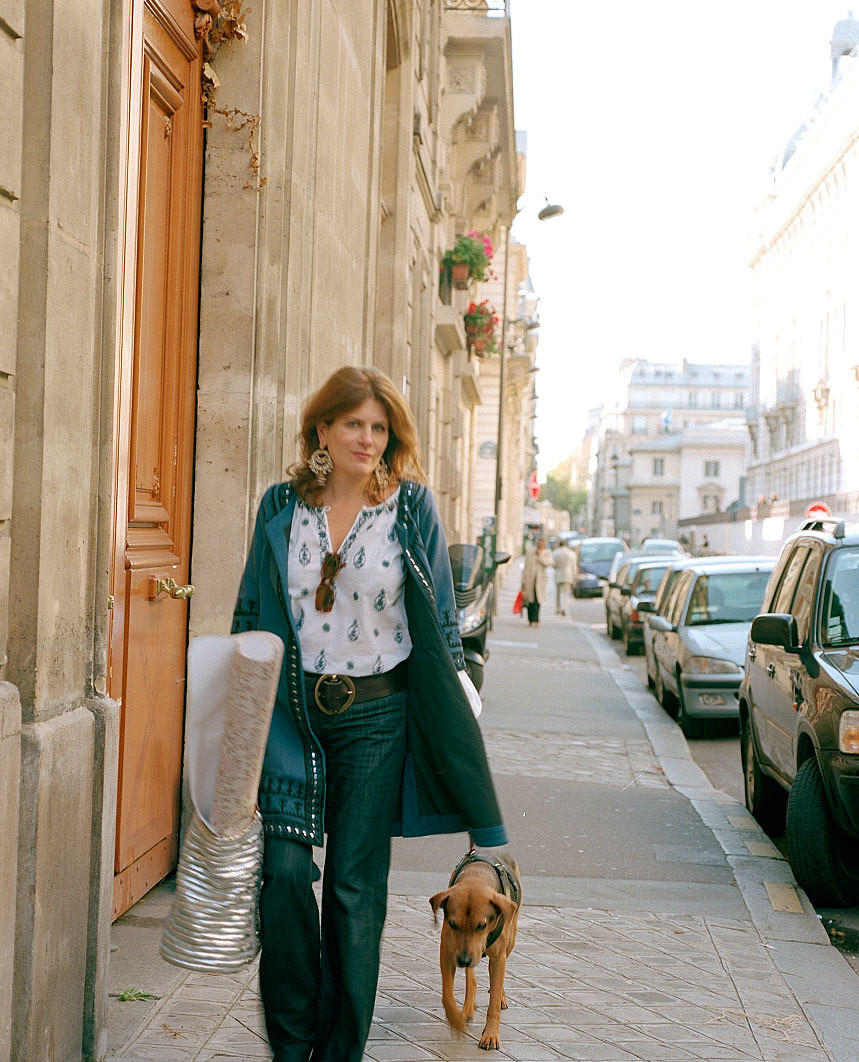 Designer Lisa Fine, strolling the streets of Paris.