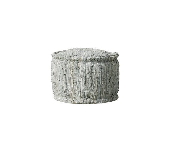 Braided Metallic Leather Pouf