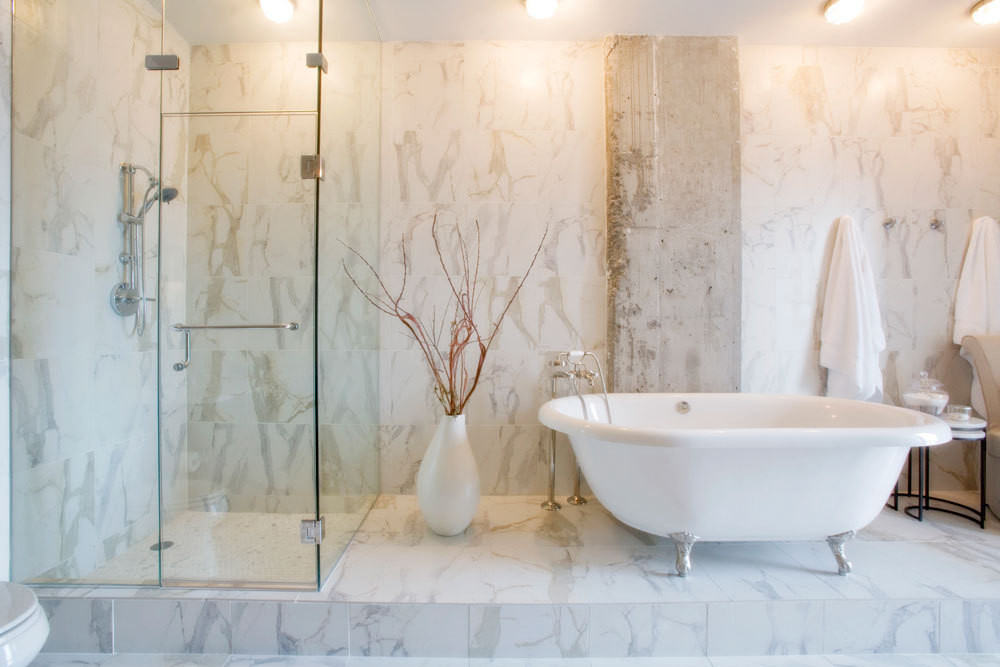 The master bath in Gwyneth Paltrow's Nashville condo, decorated by Annette Joseph in Calacatta Porcelain.