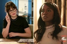 Zooey Deschanel and Aja Naomi King Rock the Same Ruffle-Collar Blouse